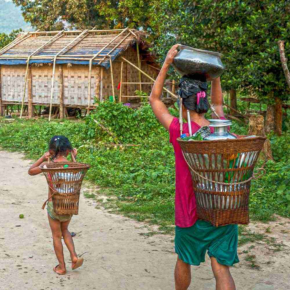 Woman and child spend hours walking to acquire water.